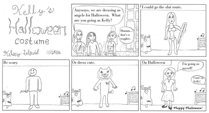 comic Kelly's Halloween costume