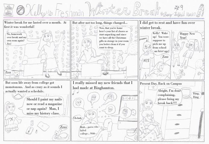 comic of Kelly's freshman winter break